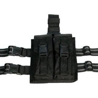 Triple Belt Ready Magazine Drop Leg Pouch   Black: Sports & Outdoors