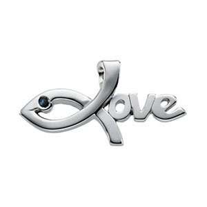 14KW Gold The Greatest Love Pendant 30x15.5mm/14kt white