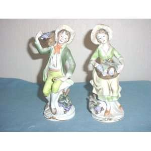 Homco Pair Man & Lady with Grapes Figurines