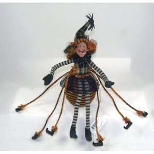 Creepy SPIDER WITCH DOLL orange 14 Halloween Poseable