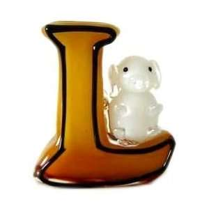 Art Glass Amber L w/ White Teddy Bear Vase