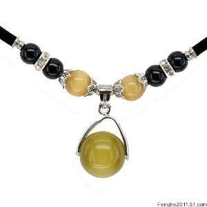 Opal Cat Eye Small Round Necklace (Brown Yellow