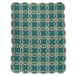 Green Double Wedding Ring, Quilt Twin 65X 85: Home