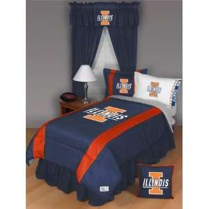 ILLINOIS FIGHTING ILLINI 5PC TWIN BEDDING SET NCAA