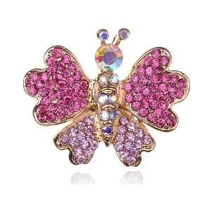 Flying Lovely Butterfly Wing Pink Rose Crystal Rhinestone