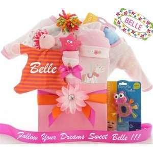 Personalized Follow Your Dreams Baby Girl Gift Basket Baby