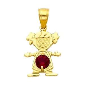 14K Yellow Gold January CZ Birthstone Girl Charm Pendant for Baby and