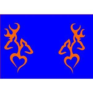 A set of Browning Deer Head Heart Logo (2 decals in ORANGE