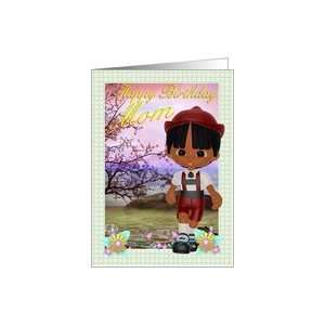 Birthday Card for Mom little boy and scenery Card Health