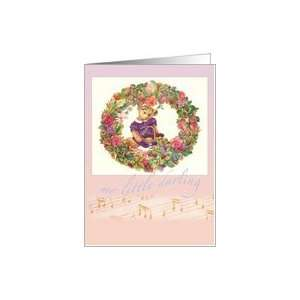 LITTLE DARLING TEDDY BEAR FLORAL BIRTHDAY Card