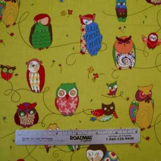 Alexander Henry~SPOTTED OWL~Citron Owls Quilt Fabric Yd