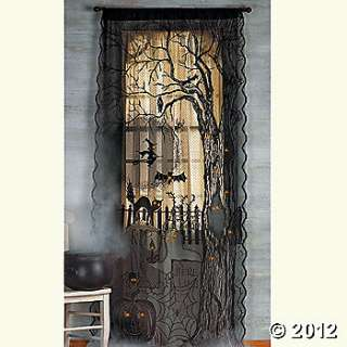 Spooky Lighted Lace Curtain Panel, Room Decor, Party Decorations
