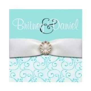 Tiffany Blue Wedding Invitations 5.25x5.25 Size