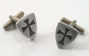 Masonic Templar Shield St Johns Cross Cufflinks 12922
