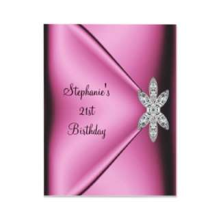21st Birthday Party Pink Silk Diamond Jewel Custom Invitation by Label
