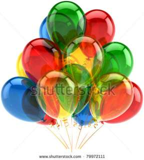 stock photo  Balloons party birthday celebrate decoration multicolor