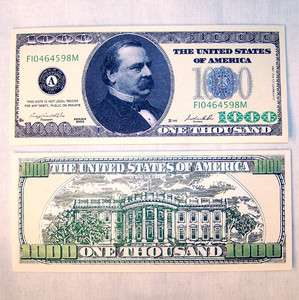 100 ONE THOUSAND DOLLAR BILLS novelty money new