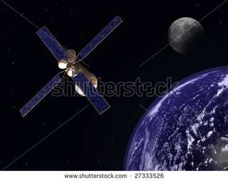 photo : Communication satellite in earth orbit with moon in background