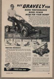 Original 1959 Vintage Ad Gravely Tractors with Rotary Mower Attachment