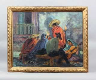 MARION GREENWOOD MEXICAN WPA MUSIC ASHCAN CITYSCAPE ANTIQUE OIL