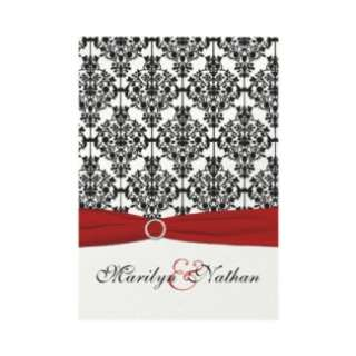 Red, White and Black Damask II Wedding Invitation by NiteOwlStudio