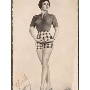 Nicole Maurey in High Heels Wears Tiny Tight Checked Shorts Premium