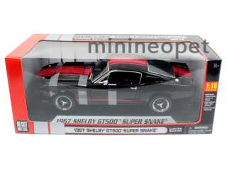 COLLECTIBLES 1967 SHELBY MUSTANG GT500 SUPER SNAKE 1/18 BLACK w RED
