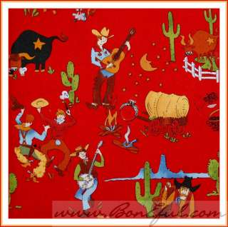 BOOAK Fabric Alexander Henry 2002 Western Bull Red Cowboy Guitar