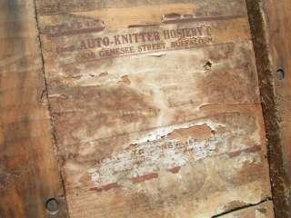 Antique Wooden AUTO Knitter Crate Box Hosiery Buffalo Wood