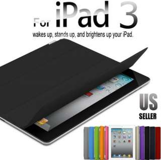 The New iPad 3 rd Smart Cover Slim PU Leather Case Wake Up Sleep Stand