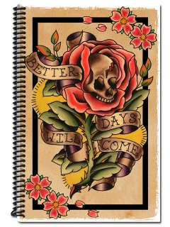 Tattoo Flash Appointment Book Traditional Skull Rose