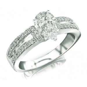 Pave set Round Diamonds Engagement Ring with a 1.01 Carat Asscher Cut