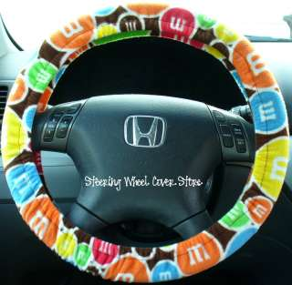 Car Steering Wheel Cover Soft M&M Candy Print NEW