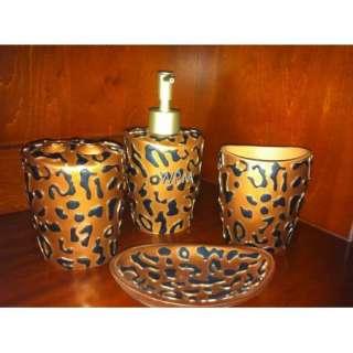 Bath Accessory Set 4pc Brown Black leopard Bathroom accessories Vanity
