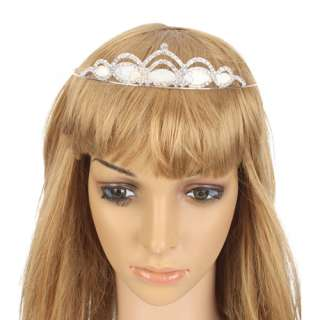 Wedding Bridal Wave Style Pearl Rhinestone Hair Accessories Crown