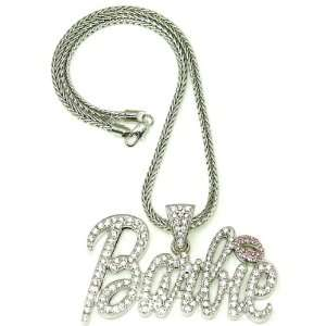 Barbie Iced Out Pendant Necklace Silver With Pink Lips Large Jewelry