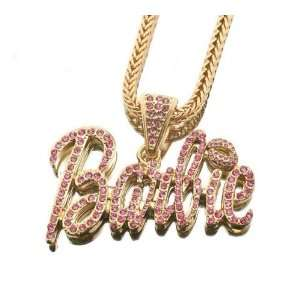 Iced Out Large Gold with Pink Barbie Nicki Minaj Pendant with 20 Inch