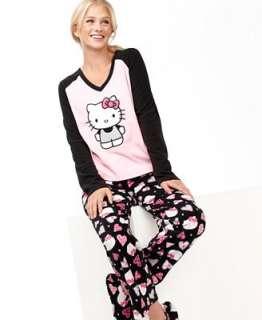 Hello Kitty Pajamas, Fleece Top, Pajama Pants and Slippers Set