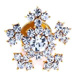Golden Christmas Pins Snowflake Brooches Pugster Jewelry