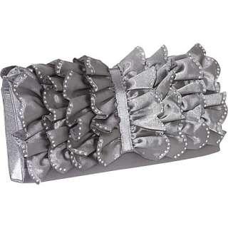 Magid Rhinestone Ruffle Satin Clutch Bags