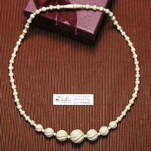 Mammoth Ivory Carved Round Beads Necklace