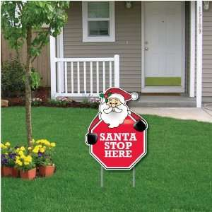 Stop Here   Stop Sign Christmas Lawn Display   Yard Sign Decoration