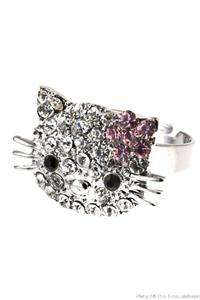 HELLO KITTY Cute Cat Crystal SANRIO Adjustable Cocktail Ring BLING