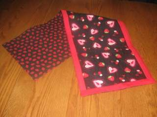 Handmade Table Runner Valentines Day Hearts strawberries cherries lips