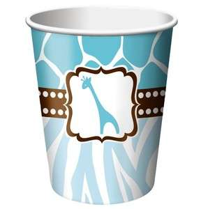 Wild Safari Blue Giraffe Baby Shower 9oz Paper Cups