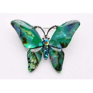 Majestic Emerald Green Crystal Rhinestone Butterfly Custom Brooch Pin