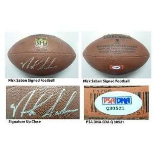 Nick Saban Signed Wilson NFL Football PSA COA Alabama Coach Dolphins
