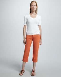 T4D2T CJ by Cookie Johnson Mercy Cropped Jeans, Tangerine