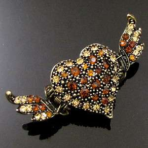 SHIPPING 1pc Rhinestone crystal antiqued heart crab hair claw