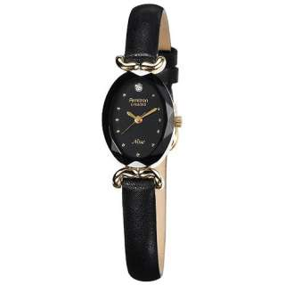 Armitron Womens Black Leather Strap Dress Watch